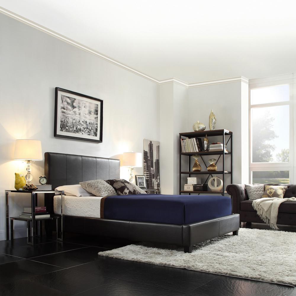 HomeSullivan Faux Leather Queen Bed in Dark Brown