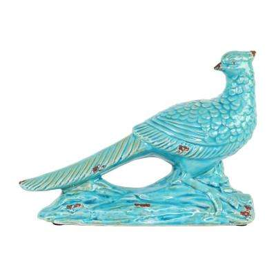 7.5 in. H Bird Decorative Figurine in Turquoise Gloss Distressed Finish