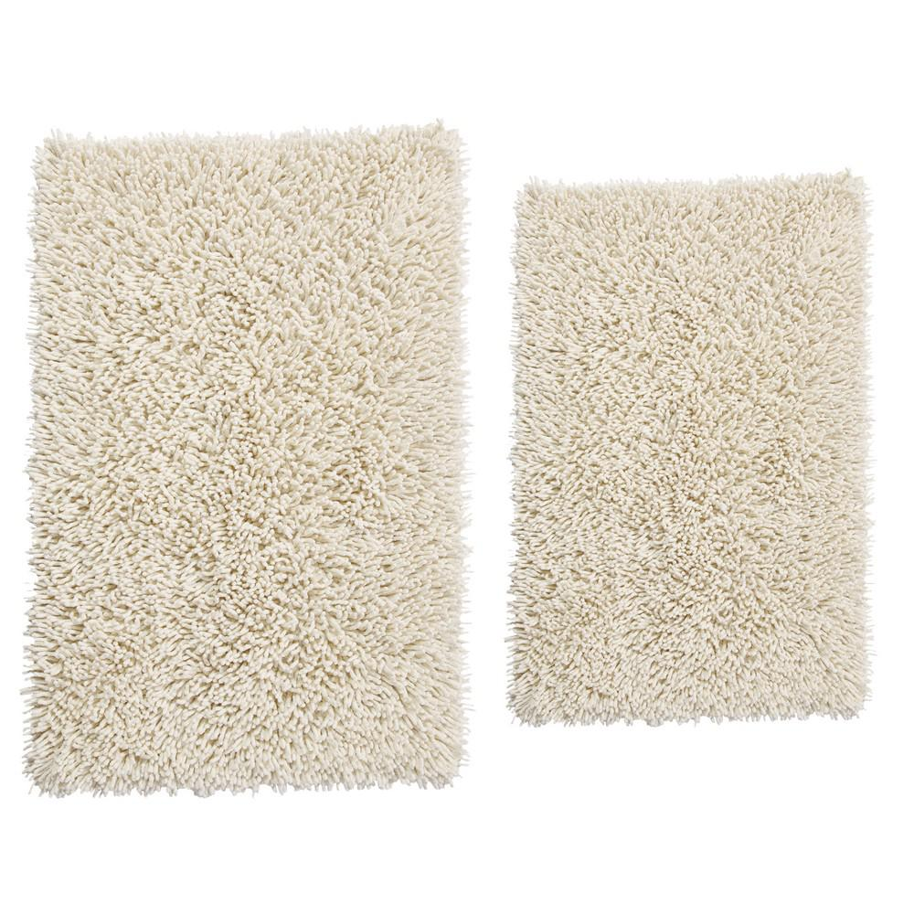 17 in. x 24 in. and 21 in. x 34 in. Chenille Shaggy Bath Rug Set (2 Piece), Ivory