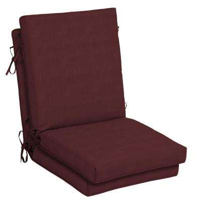 CushionGuard Aubergine High Back Outdoor Dining Chair Cushion (2-Pack)