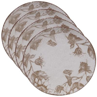 Toile Rooster Multi-color Dinner Plate (Set of 4)