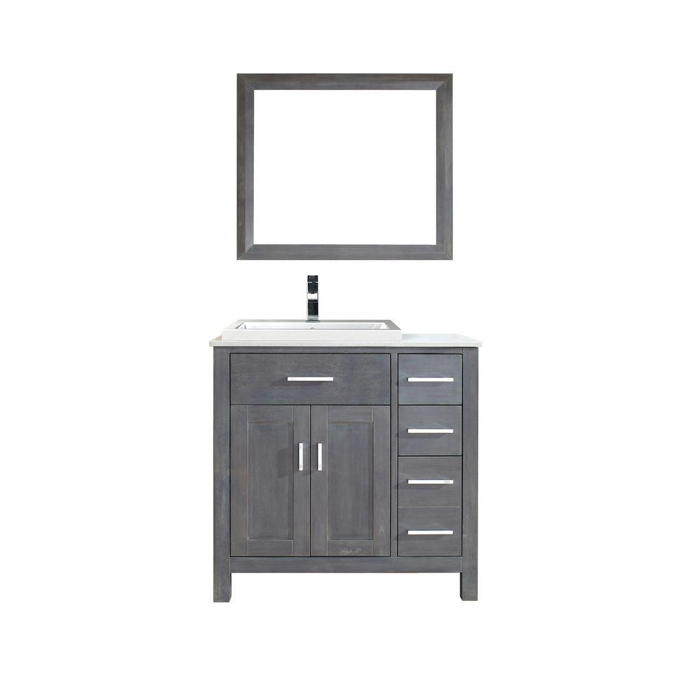 Studio Bathe Kelly 36 in. Vanity in French Gray with Solid Surface Marble Vanity Top in Carrara White and Mirror