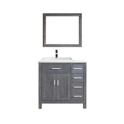 Kelly 36 in. Vanity in French Gray with Solid Surface Marble Vanity Top in Carrara White and Mirror