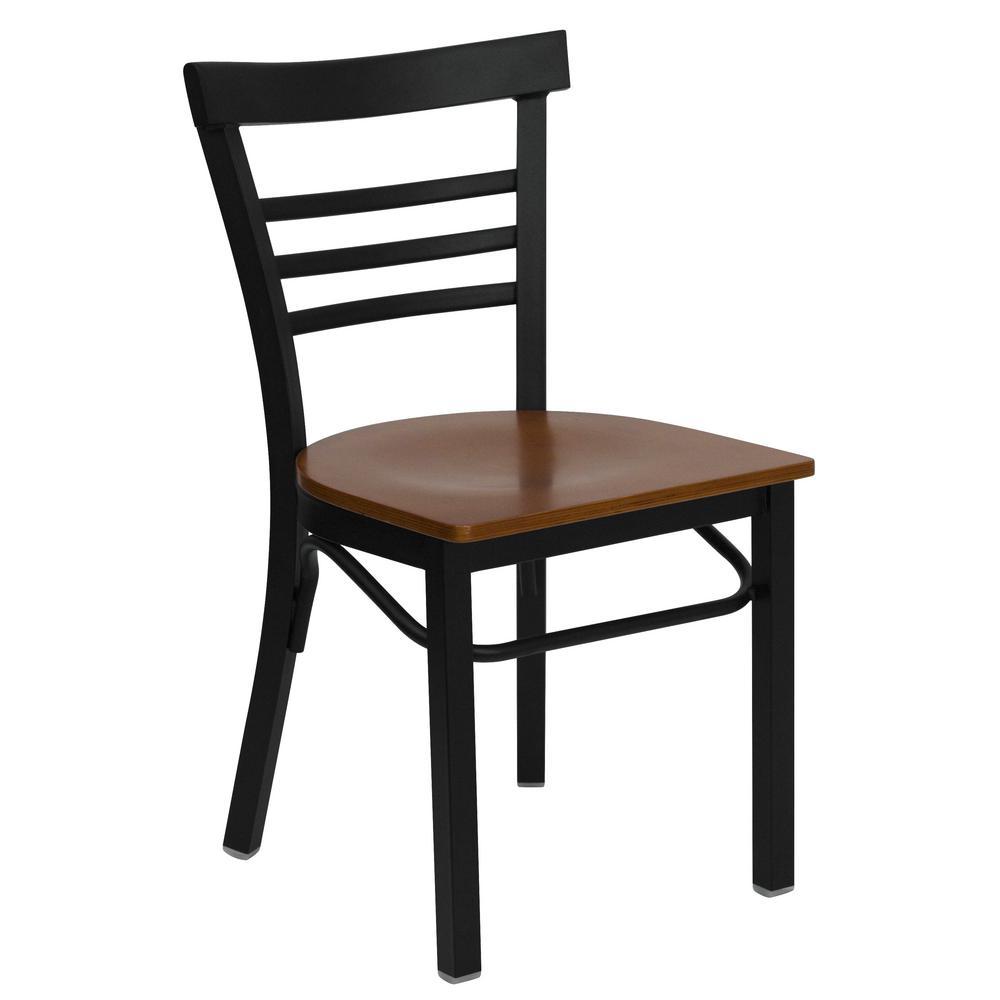 Hercules Series Black Ladder Back Metal Restaurant Chair with Cherry Wood Seat