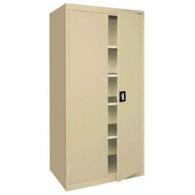 Elite Series 78 in. H x 36 in. W x 18 in. D 5-Shelf Steel Recessed Handle Storage Cabinet in Tropic Sand
