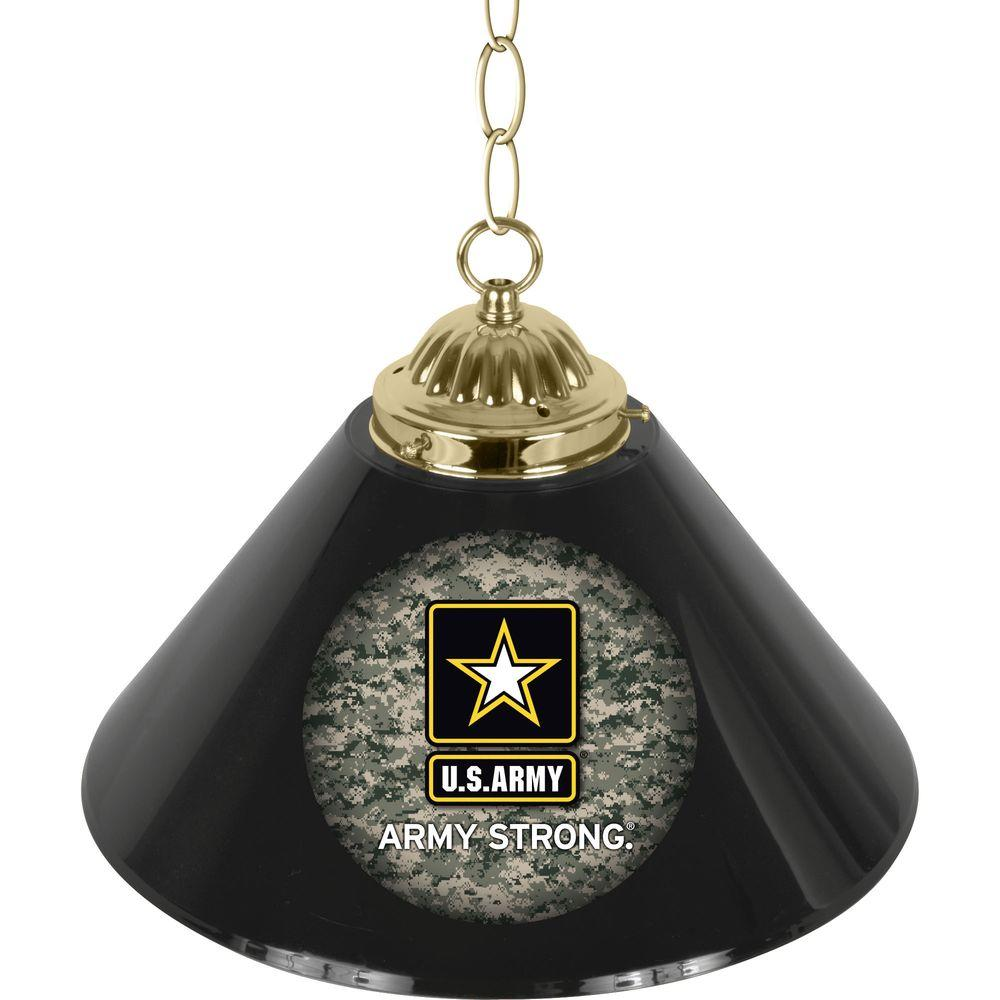 Trademark Global United States Army Camo 14 in. Single Shade Stainless Steel Hanging Lamp