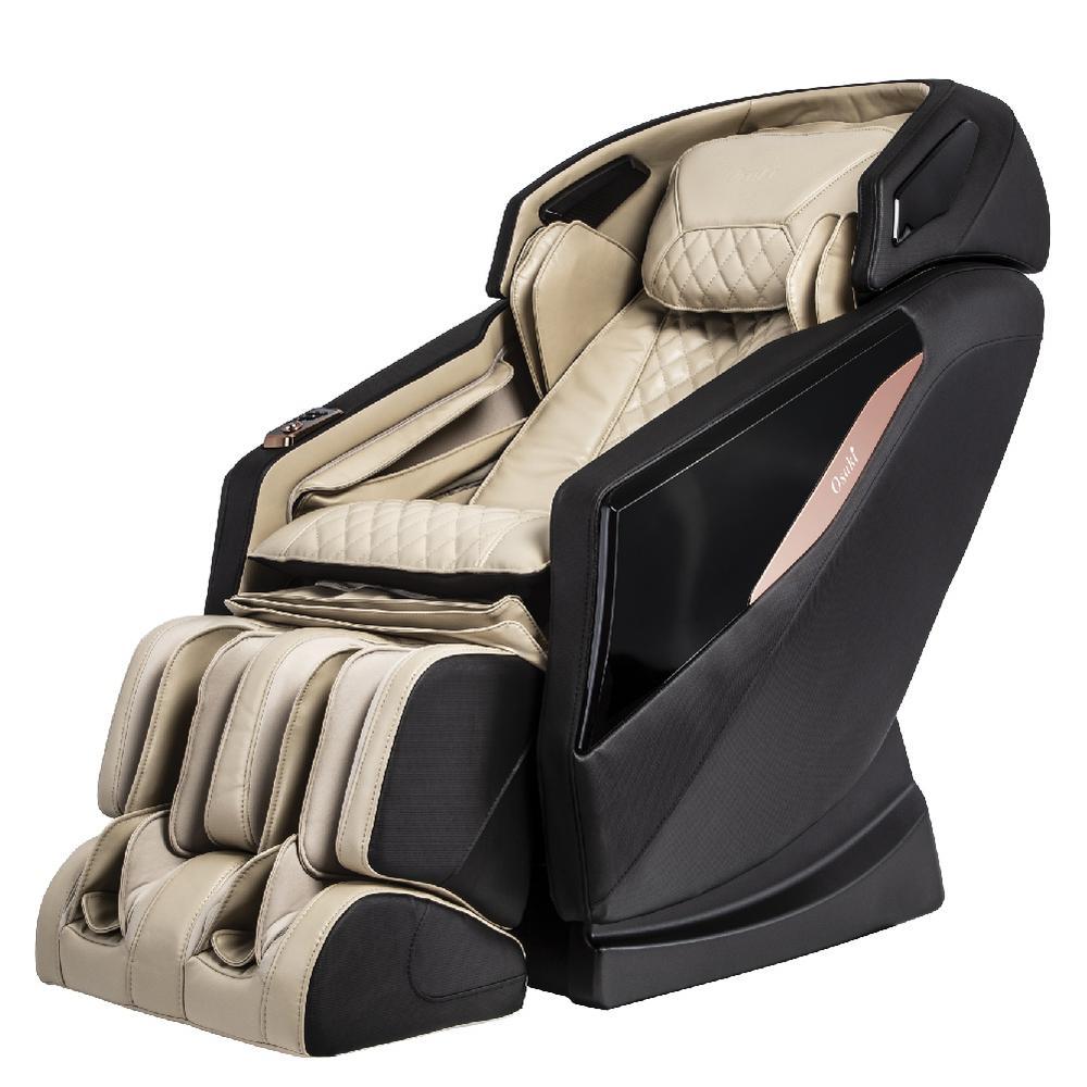 OSAKI OS-PRO Yamato Faux Leather Reclining Massage Chair in Cream