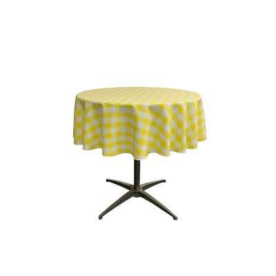 """58 in. White and Light Yellow Polyester Gingham Checkered Round Tablecloth"""