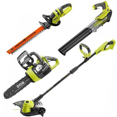 ONE+ 18-Volt Lithium-Ion Cordless Kit String Trimmer and Edger/Jet Fan Leaf Blower/Hedge Trimmer/Chainsaw (Tools-Only)