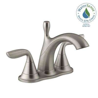 Willamette 4 in. Centerset 2-Handle Water-Saving Bathroom Faucet in Vibrant Brushed Nickel