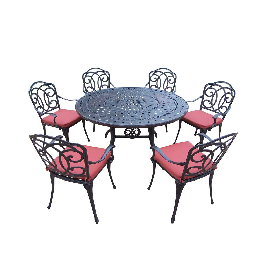 Magnificent Berkley 7 Piece Aluminum Outdoor Dining Set With Red Cushions Theyellowbook Wood Chair Design Ideas Theyellowbookinfo
