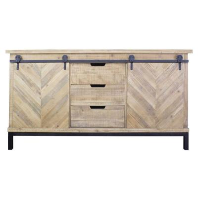 Shelly Natural with a Drawers and Doors Wood Cabinet
