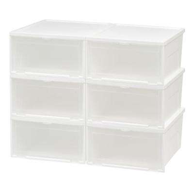 Wide Front Entry Stacking Shoe Box (6-Pack)
