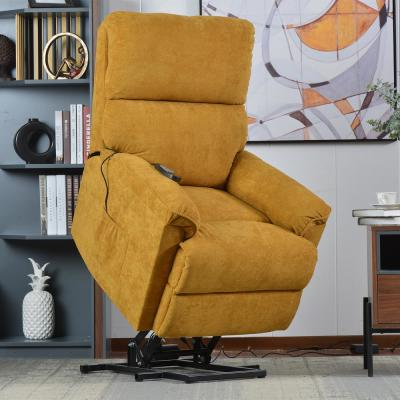 Yellow Power Lift Chair with Massage Soft Fabric Upholstery Recliner Chair with Remote
