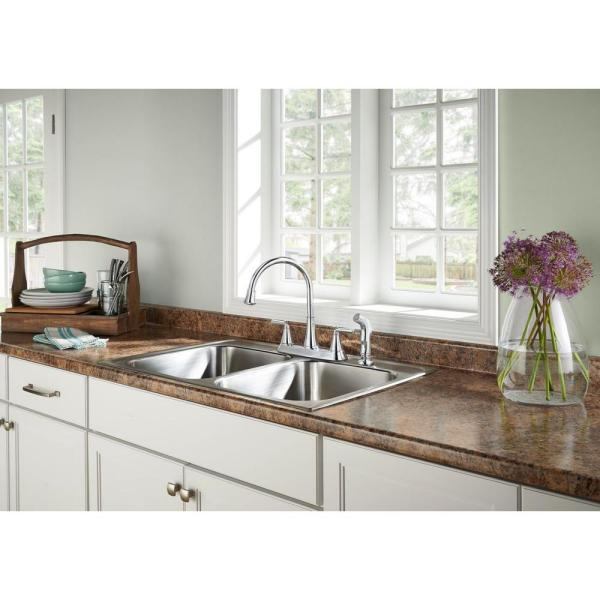 Pfister Cantara High Arc 2 Handle Standard Kitchen Faucet With Side Sprayer In Polished Chrome F 036 4crc The Home Depot