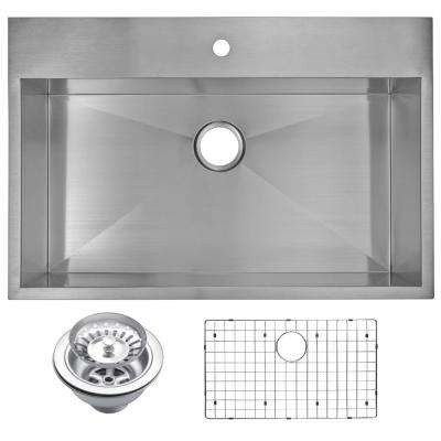 Drop-In Stainless Steel 33 in. 1 Hole Single Bowl Kitchen Sink with Strainer and Grid in Satin