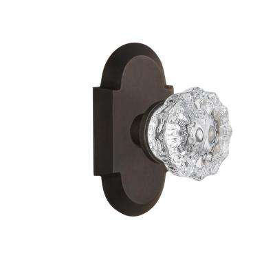 Cottage Plate 2-3/8 in. Backset Oil-Rubbed Bronze Passage Crystal Glass Door Knob