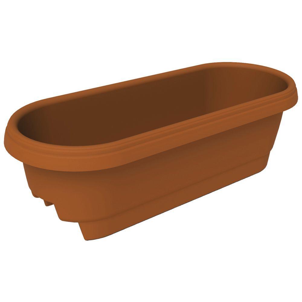 Bloem 22.9 in. x 9.5 in. Clay Plastic Deck Rail Planter