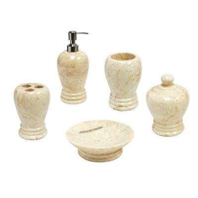 Aladdin 5-Piece Bath Set in Champagne Polished Marble
