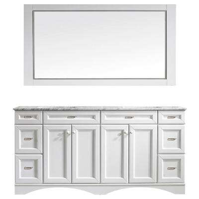 Naples 72 in. W x 22 in. D x 35 in. H Vanity in White with Marble Vanity Top in White with Basin and Mirror