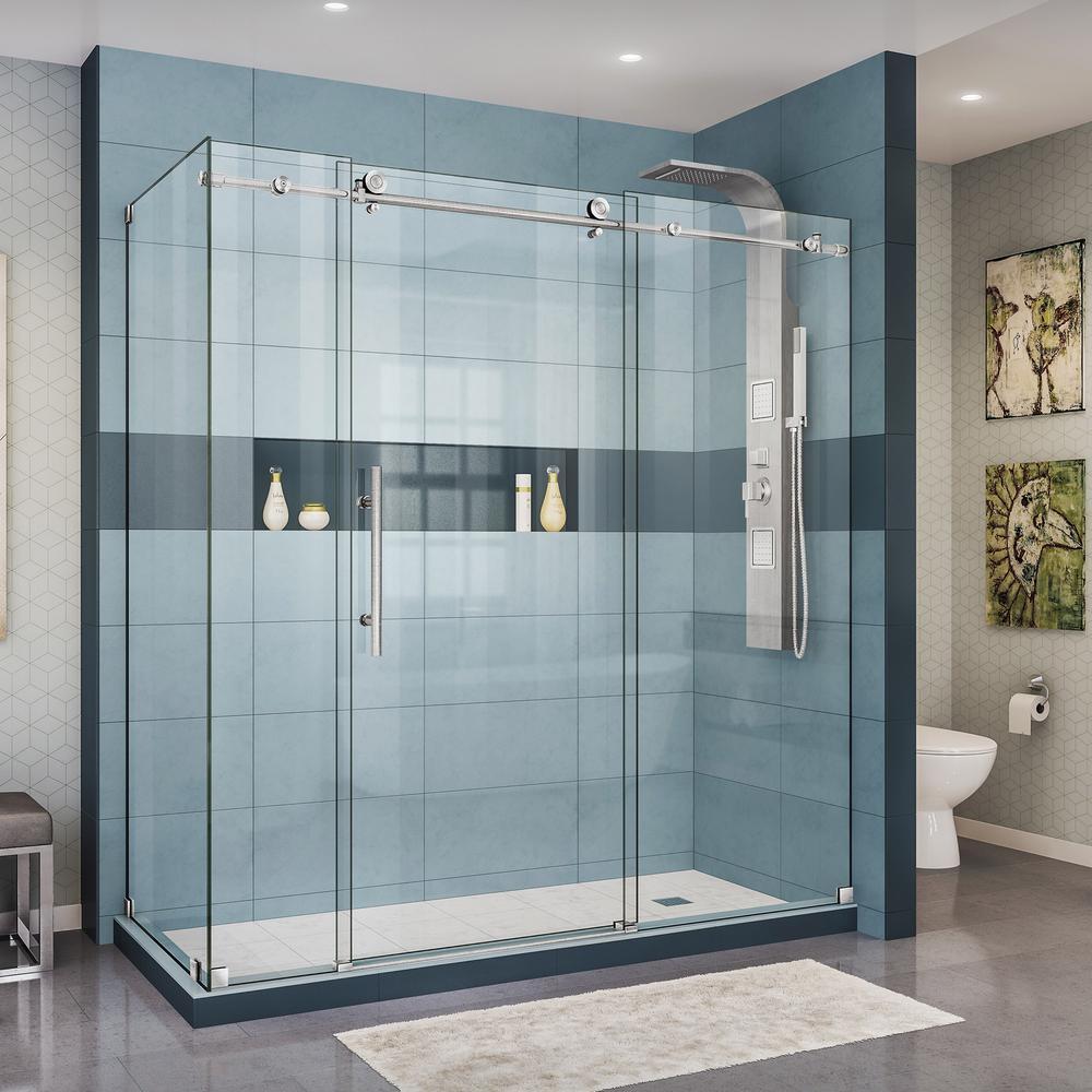 Dreamline Enigma X 72 3 8 In X 76 In H Frameless Corner Sliding Shower Enclosure In Brushed