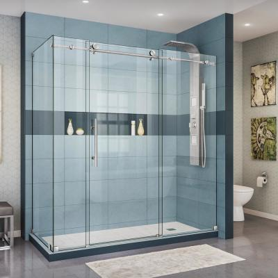 Enigma-X 32 1/2 in. D x 72 3/8 in. W x 76 in. H Frameless Corner Sliding Shower Enclosure in Brushed Stainless Steel