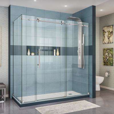 Enigma-X 34 1/2 in. D x 72-3/8 in. x 76 in. H Frameless Corner Sliding Shower Enclosure in Brushed Stainless Steel
