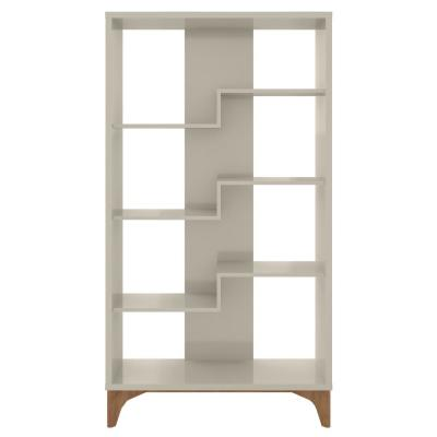 Watkins 64.96 in. Off White Faux Wood 4-shelf Cube Bookcase with Geometric Design