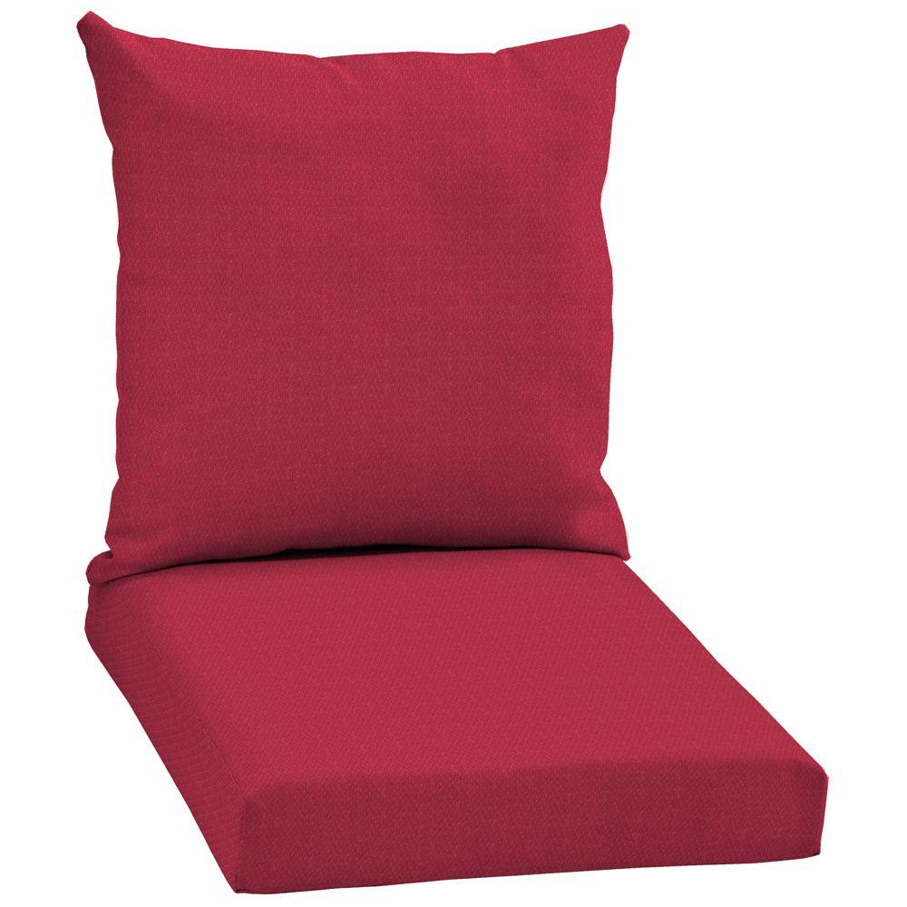 Arden Chili Red Solid 2-Piece Pillow Back Outdoor Deep Seating Cushion Set-DISCONTINUED