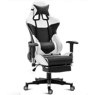 White Ergonomic Gaming Chair Upholstery High Back Racing Office Chair with Lumbar Support and Footrest