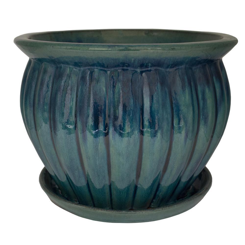 Trendspot 12 in. Dia Ceramic Hana Planter