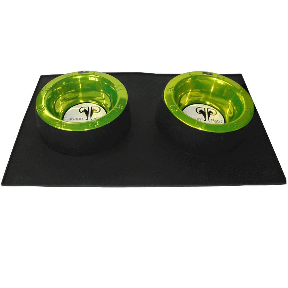 Platinum Pets Black Heavy Duty Silicone Feeding Mat with Two 4 Cup Wide Rimmed Bowls in Lime-DISCONTINUED
