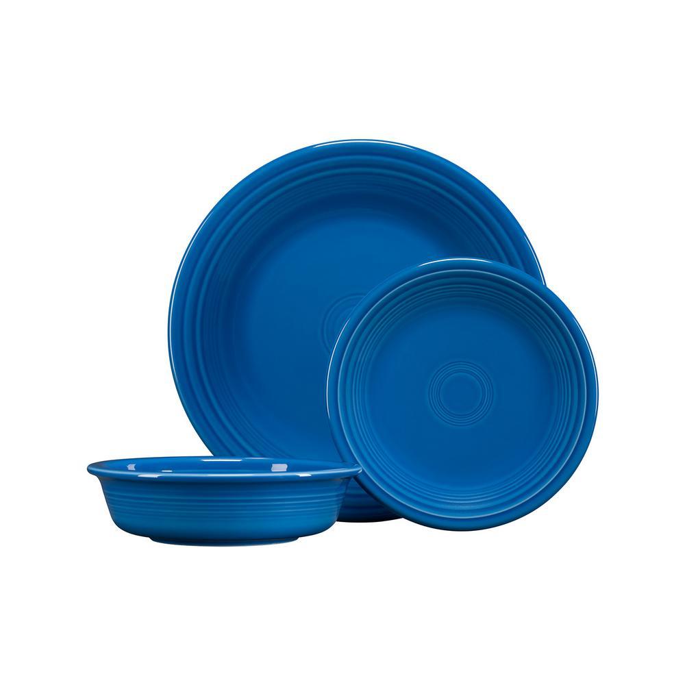 3-Piece Casual Lapis Ceramic Dinnerware Set (Service for 1)