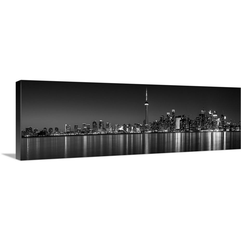 Toronto city skyline with cn tower at night black and white by circle capture canvas wall art