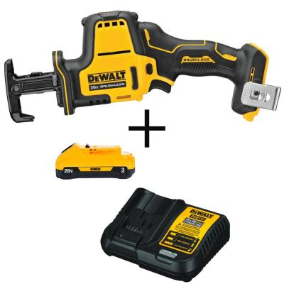 ATOMIC 20-Volt MAX Brushless Compact Reciprocating Saw (Tool-Only) with Bonus Li-ion Battery Pack 3.0Ah and Charger