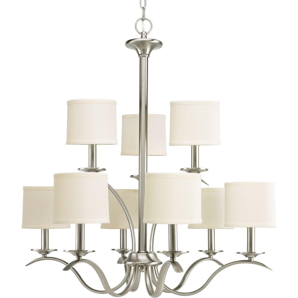 Progress Lighting Inspire Collection 9-Light Brushed Nickel Chandelier with Shade with Beige Linen Shade