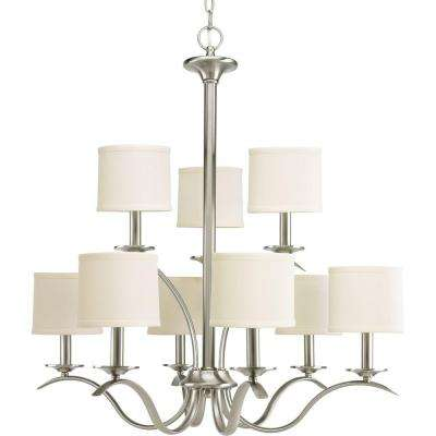 Inspire Collection 9-Light Brushed Nickel Chandelier with Beige Linen Shade