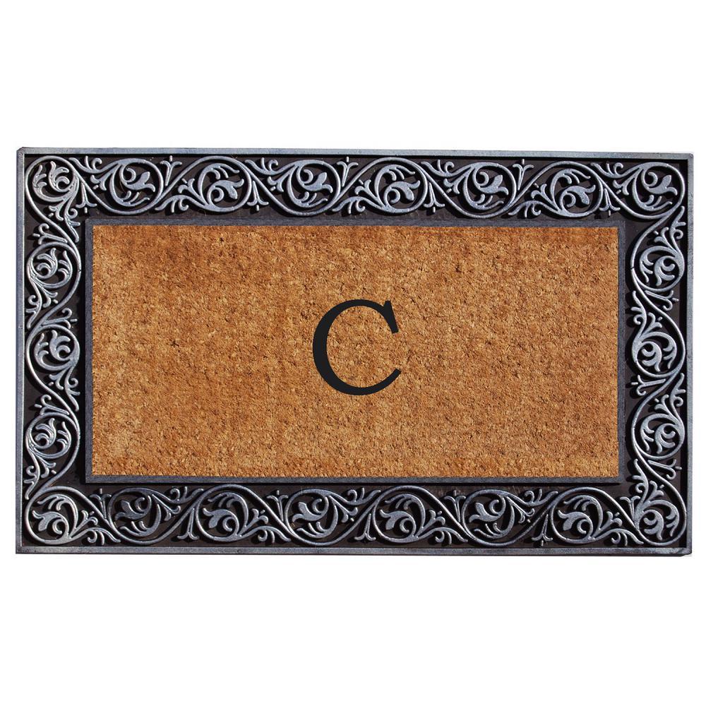 Prestige Silver Door Mat 18 in. x 30 in. Monogram C Door Mat