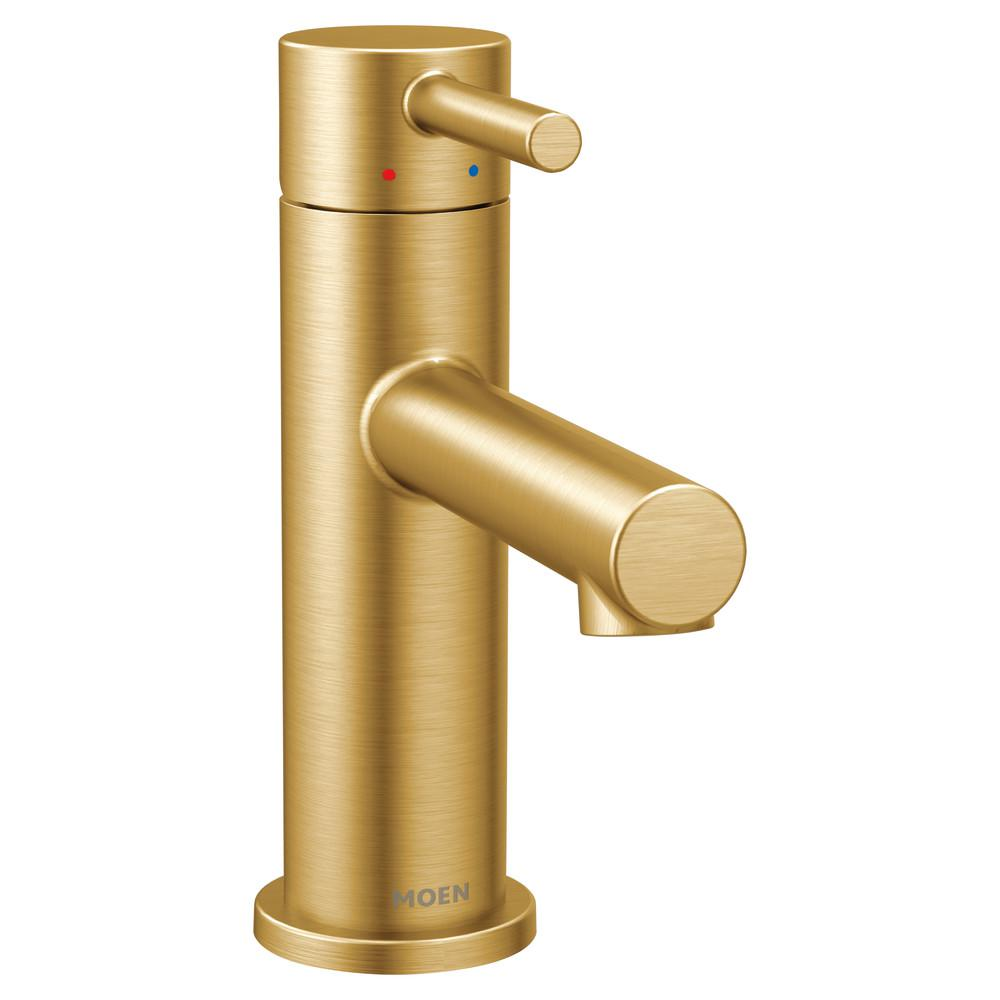 MOEN Align Single Hole Handle-Handle Bathroom Faucet in Brushed Gold
