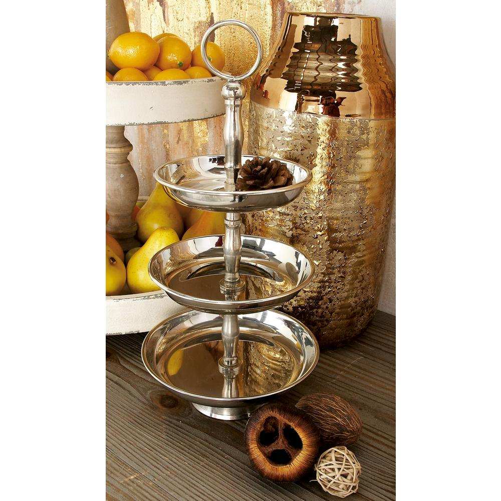 16 in. 3-Tiered Silver Aluminum and Stainless Steel Round Tray Stand