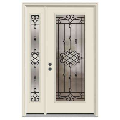 52 in. x 80 in. Full Lite Sanibel Primed Steel Prehung Right-Hand Inswing Front Door with Left-Hand Sidelite