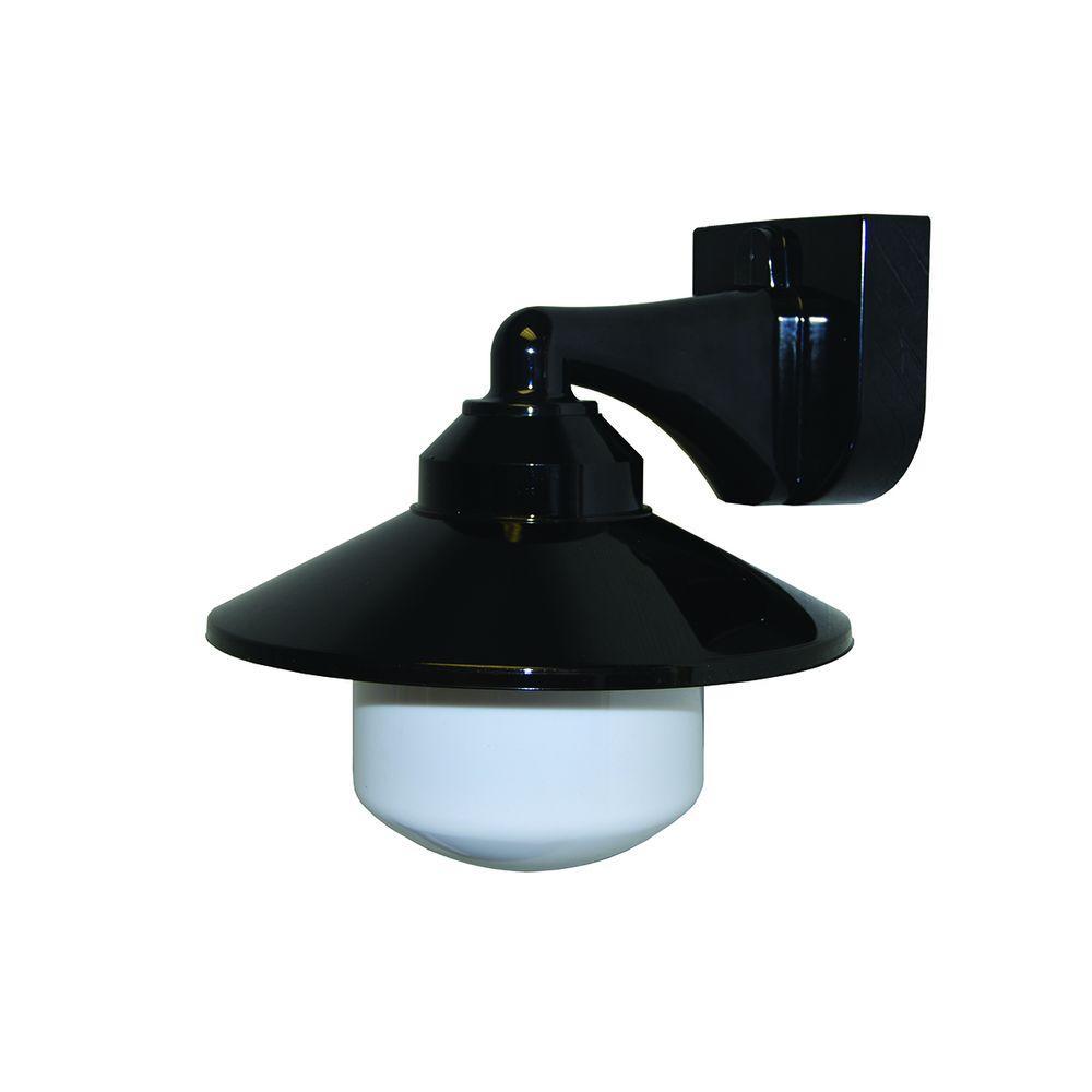 1-Light Black Outdoor Incandescent Long Neck Wall Bracket Fixture with Dusk/Dawn Sensor