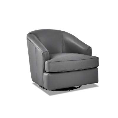 Lamar Leather Swivel Gliding Grey Accent Chair