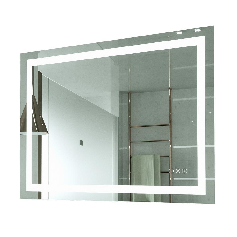 40 in. W x 32 in. H Frameless Rectangular LED Light Bathroom Vanity Mirror
