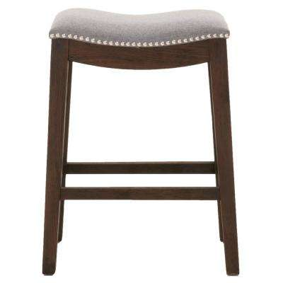 Harper 26 in. Earl Gray Fabric, Rustic Java Oak Counter Stool