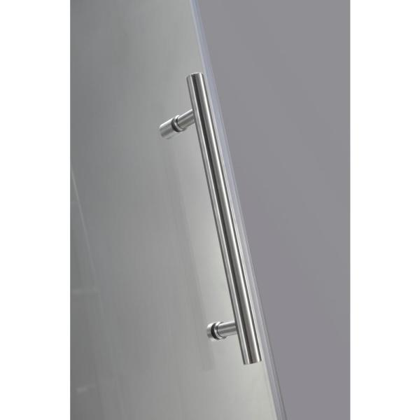 Aston Langham 56 In To 60 In X 75 In Completely Frameless Sliding Shower Door With Frosted Glass In Brushed Stainless Steel Sdr978f Ss 60 10 The Home Depot