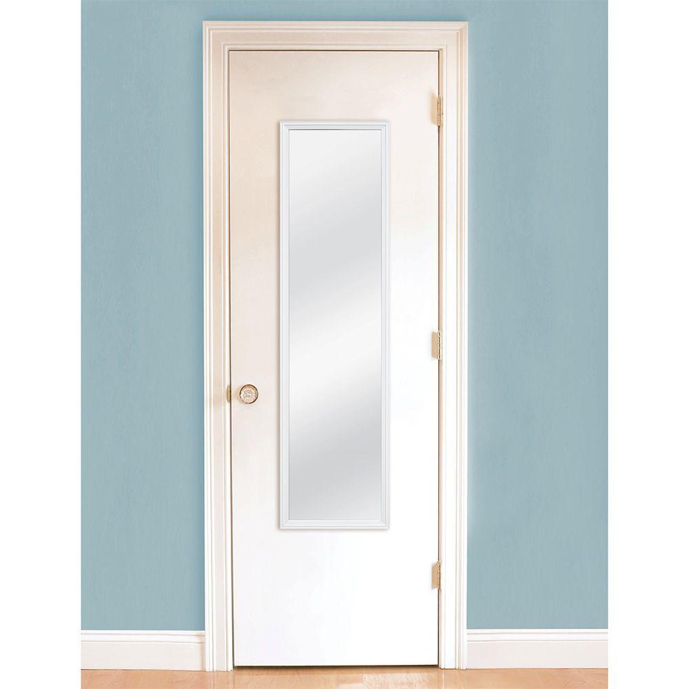Masterpiece Decor 49.5 in. H x 13.375 in. W White Door Framed Mirror ...