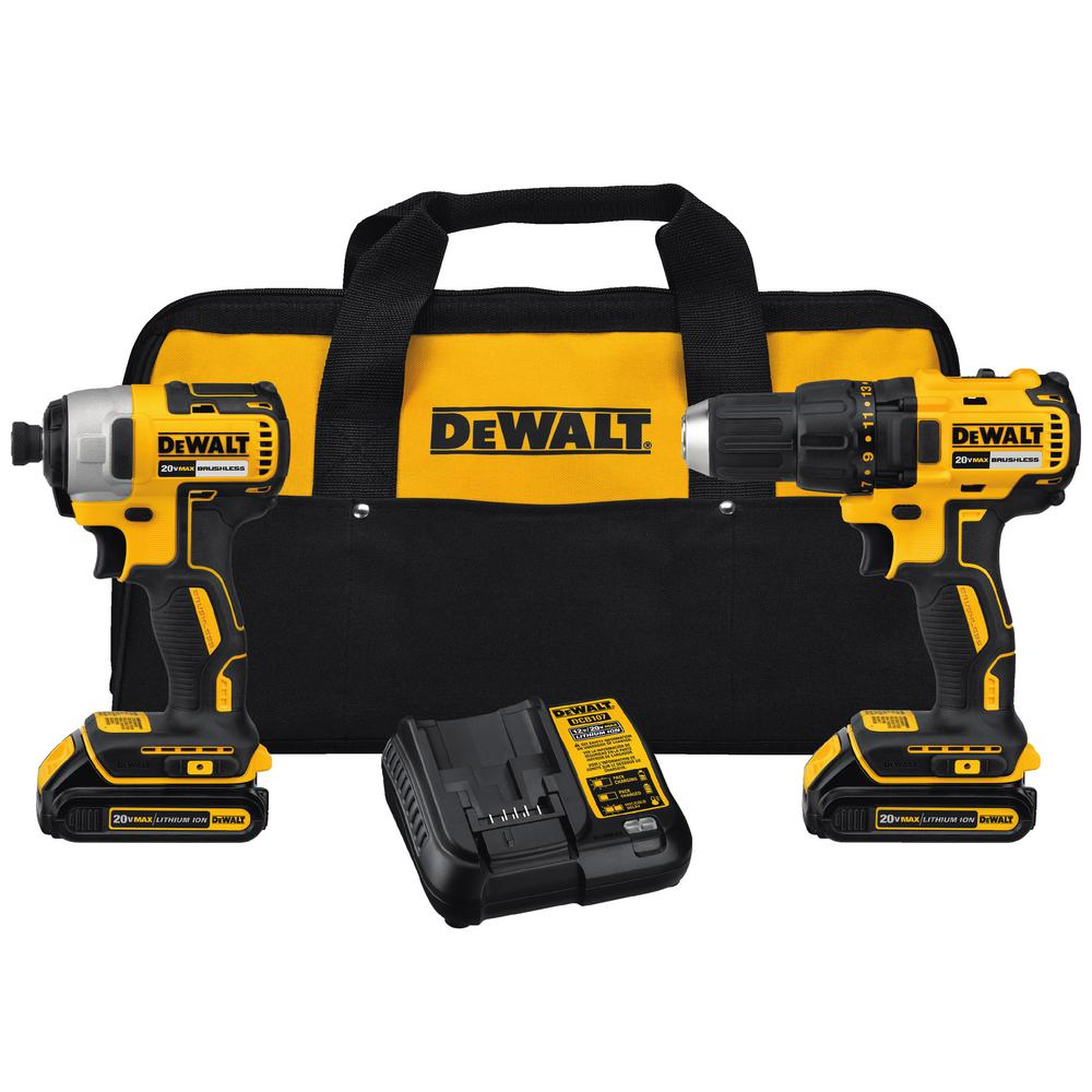 DEWALT 20-Volt MAX Lithium-Ion Cordless Brushless Drill/Driver and Impact Combo Kit (2-Tool) w/ (2) Batteries 1.3Ah and Charger