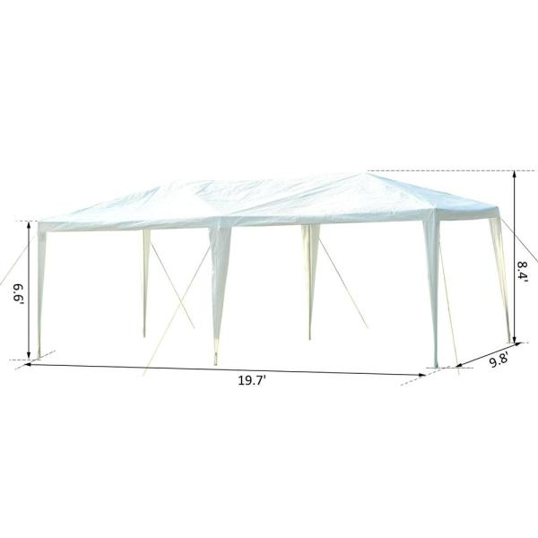 10 ft. x 20 ft. White Gazebo Canopy Tent with 4 Removable Mesh Side Walls for Events and Weddings