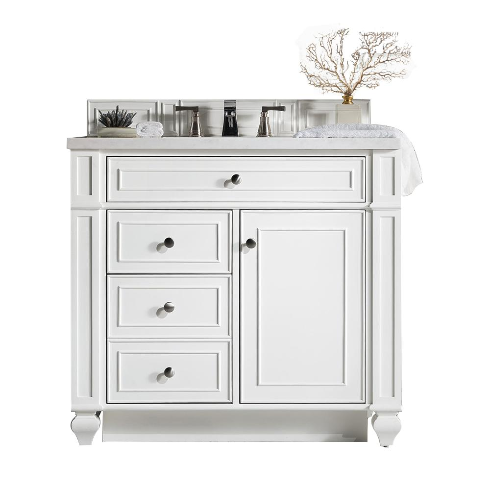 James Martin Signature Vanities Bristol 36 in. W Single Vanity in Cottage White with Marble Vanity Top in Carrara White with White Basin